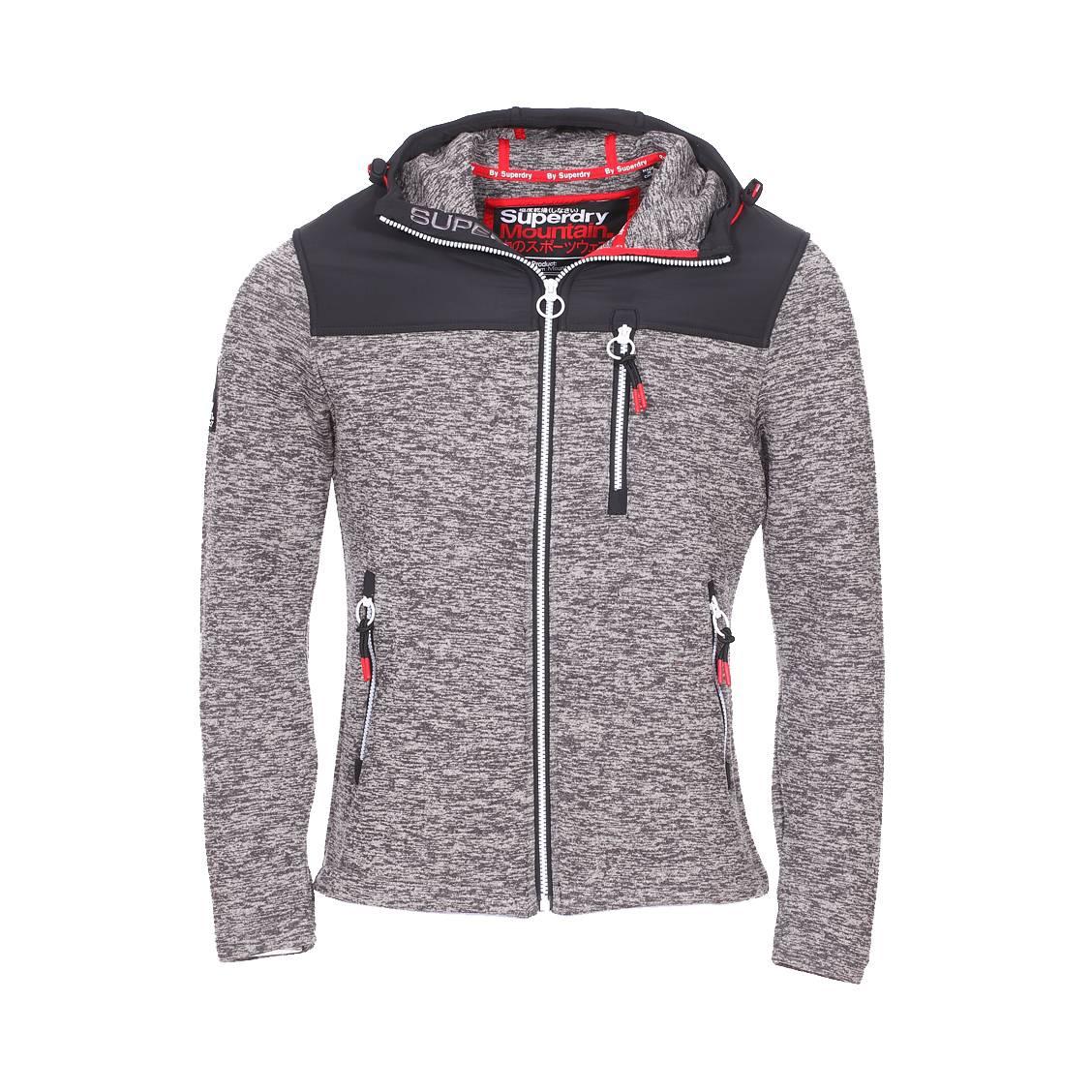 Veste zippée à capuche  storm mountain gris chiné et noire
