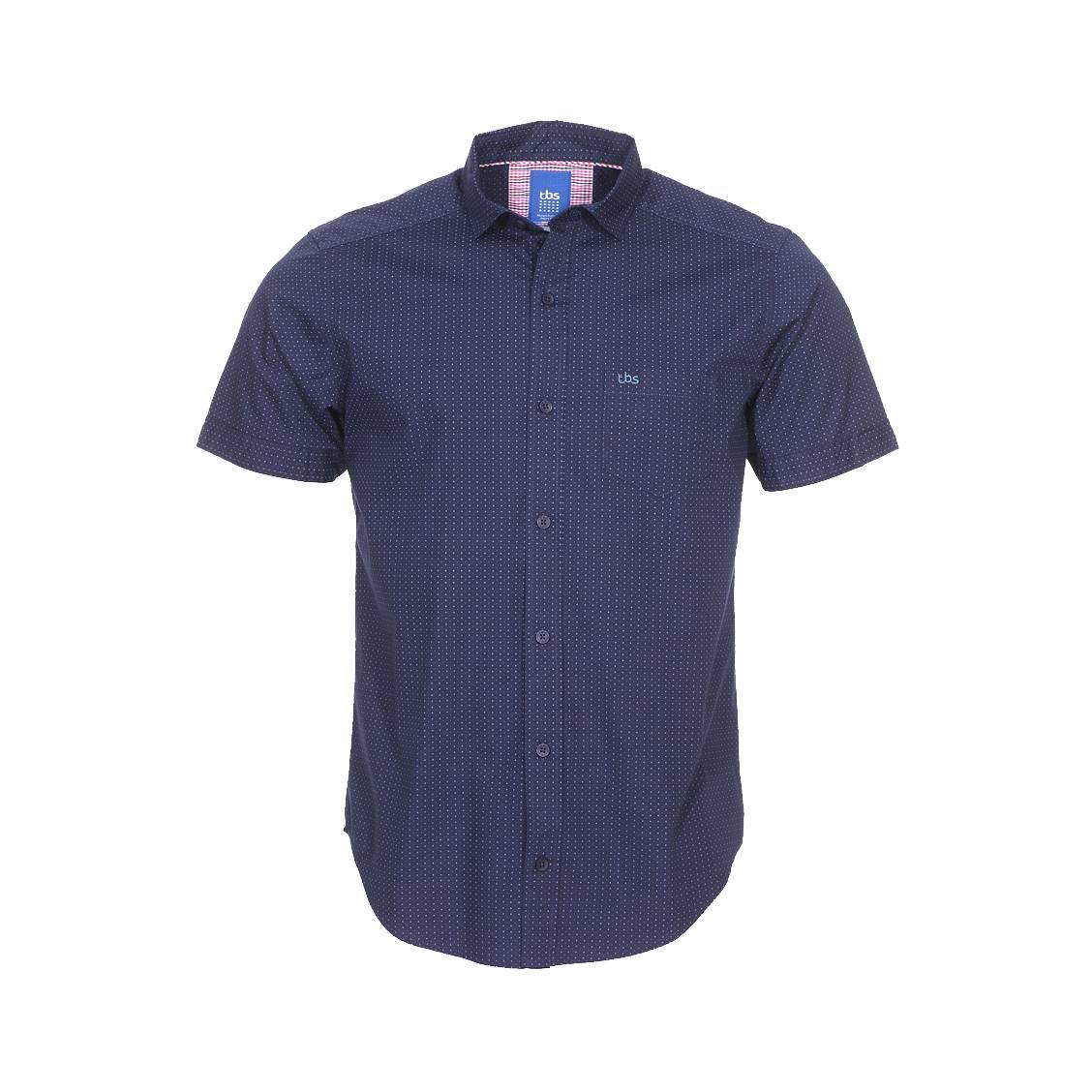 Chemise manches courtes fobchemi  en coton bleu marine à motifs étoiles bleu clair