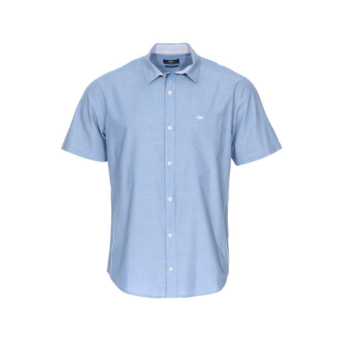 Chemise manches courtes  corchemi en coton bleu jean