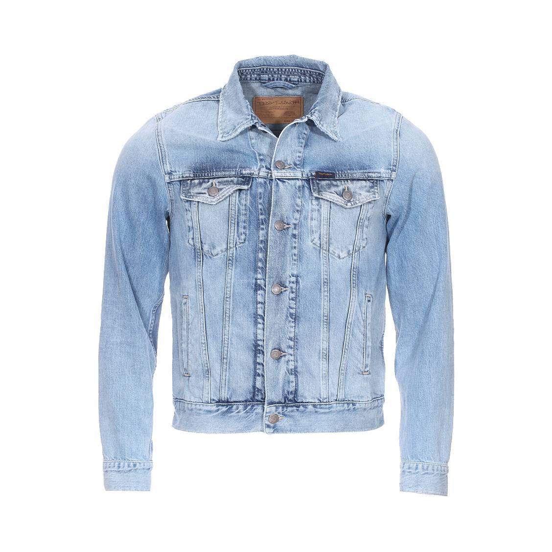 Blouson en jean  randall iconic en coton bleu clair délavé