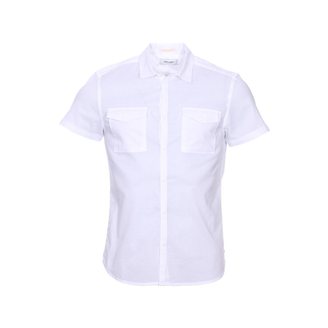 Chemise manches courtes  cong en coton blanc
