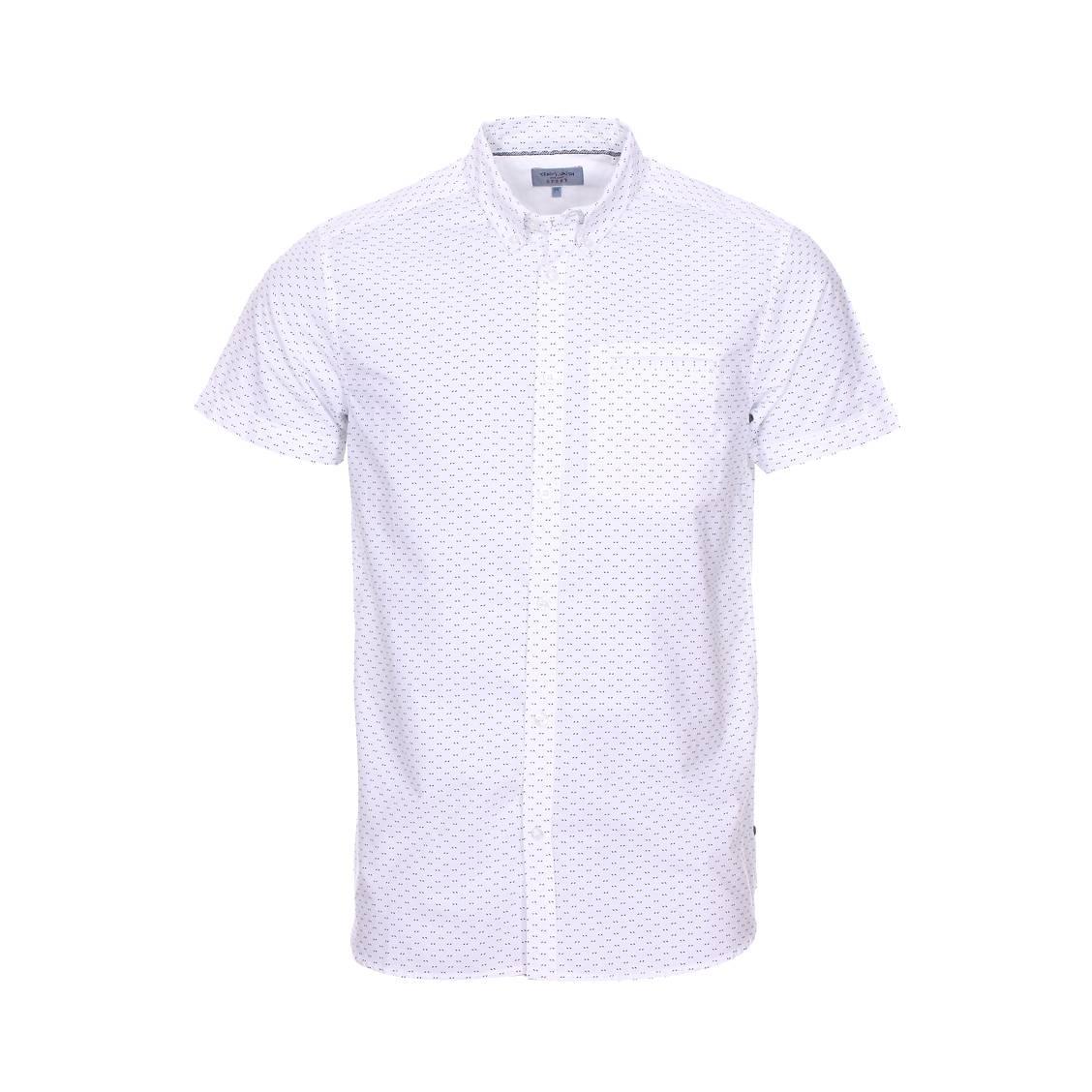 Chemise manches courtes  coury en coton blanc à motifs noirs imprimés