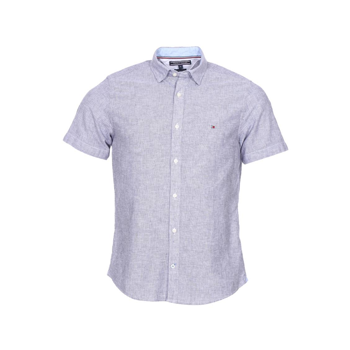 Chemise cintrée à manches courtes Tommy Hilfiger Slim Fine Stripe en coton  et lin à rayures ...