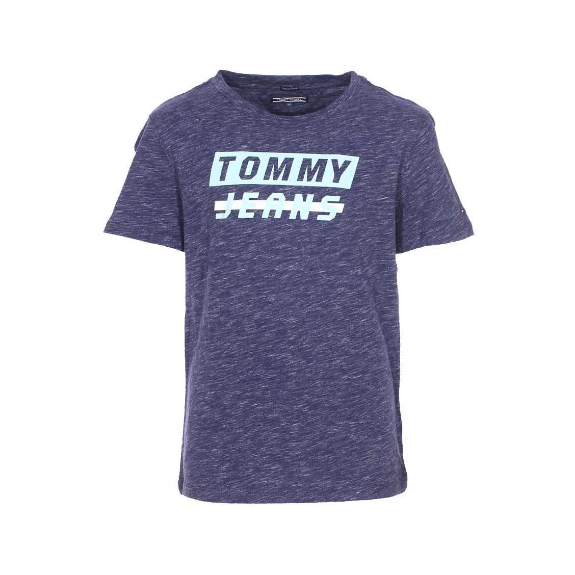 Tee-shirt col rond  ame bold en coton biologique bleu chiné floqué