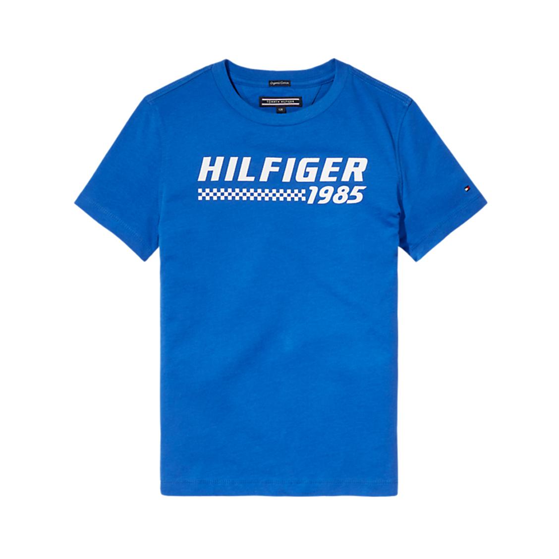 Tee-shirt col rond  ame bright graphic en coton biologique bleu floqué