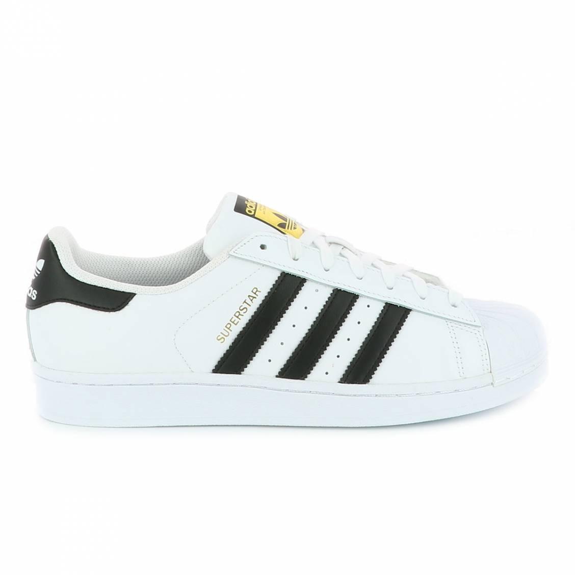 Baskets Adidas Superstar en cuir pleine fleur blanc