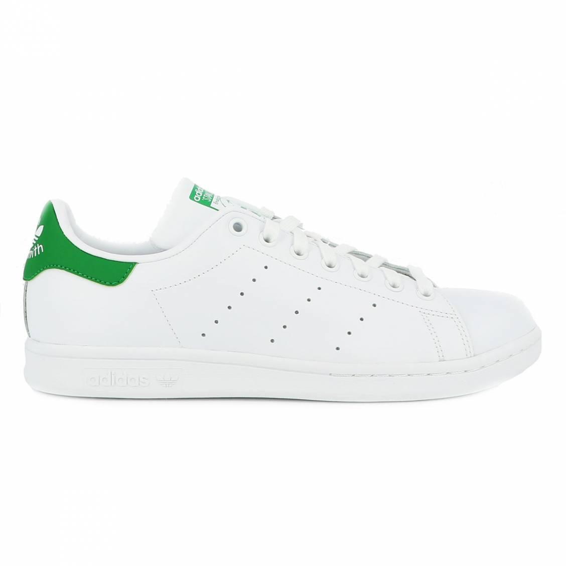 Baskets Adidas Stan Smith en cuir pleine fleur blanc à talon vert