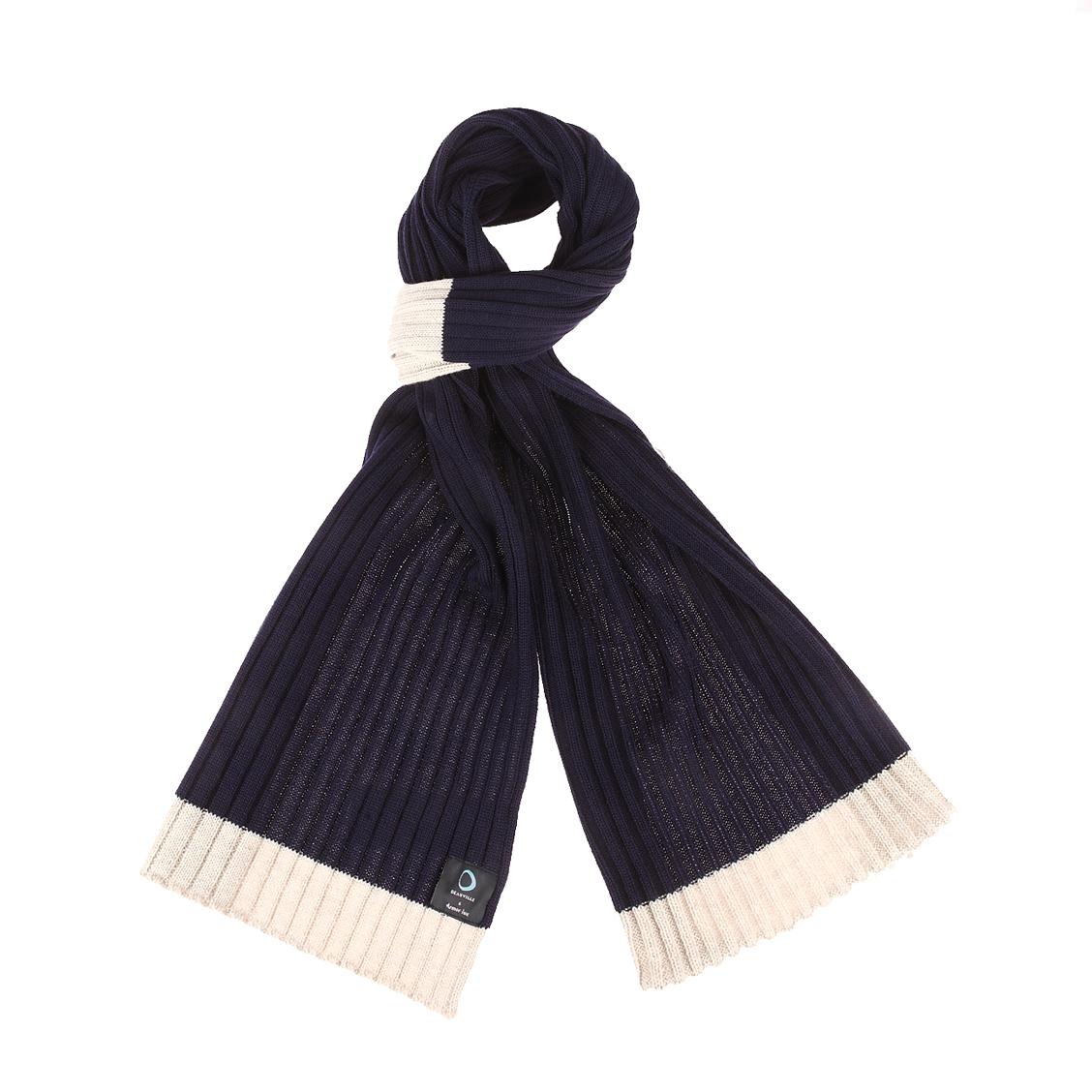 Echarpe  en laine mélangé avec 3 rayures grises