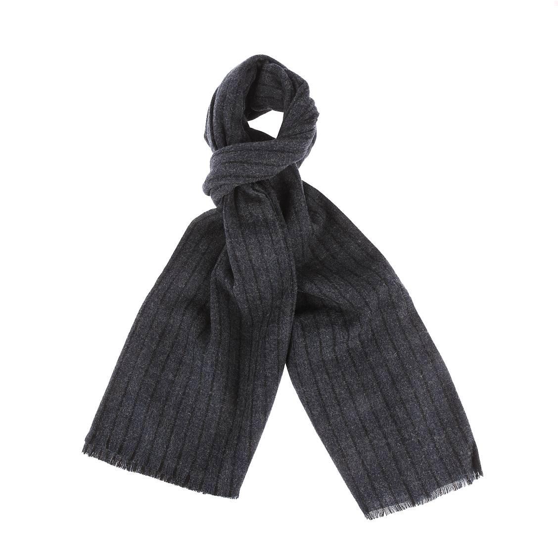 Etole  en laine mélangée bleu marine chiné à rayures noires