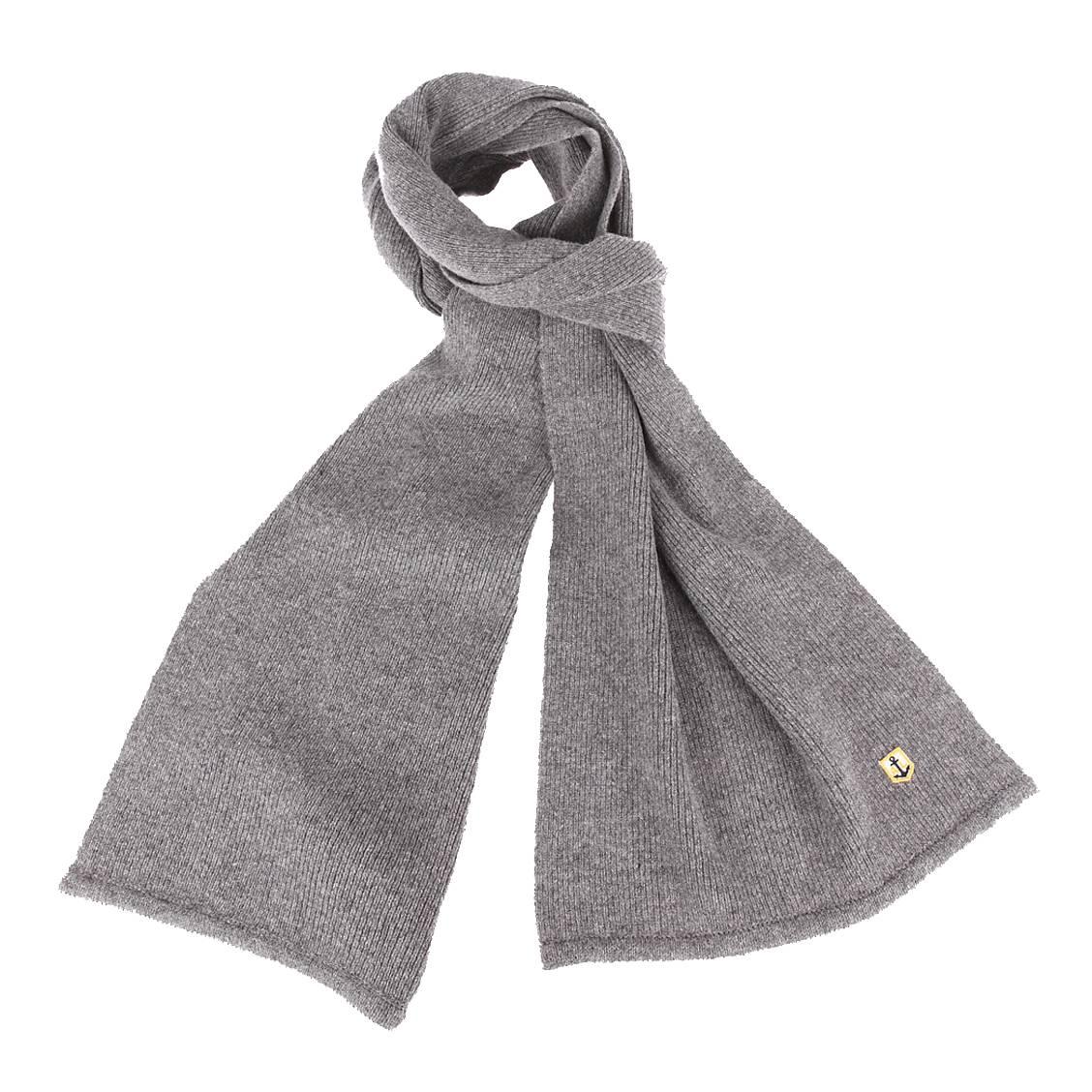 Echarpe  héritage en laine gris chiné