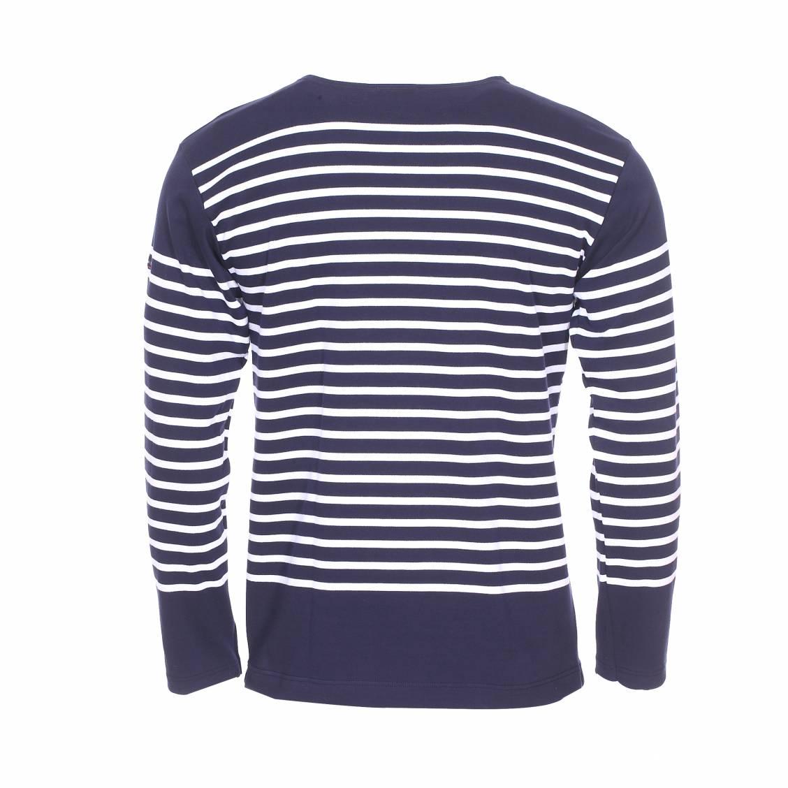 chaussure prix favorable San Francisco Marinière Armor Lux Amiral en coton bleu marine à rayures blanches | Rue  Des Hommes