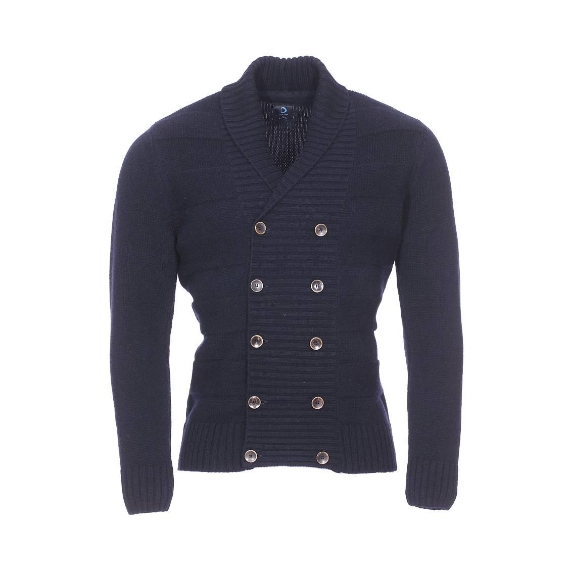 Gilet boutonné col châle Armor Lux en laine bleu marine à rayures bleu marine