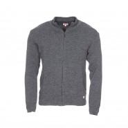 Cardigan zippé Armor Lux Plouescat en laine gris anthracite chiné