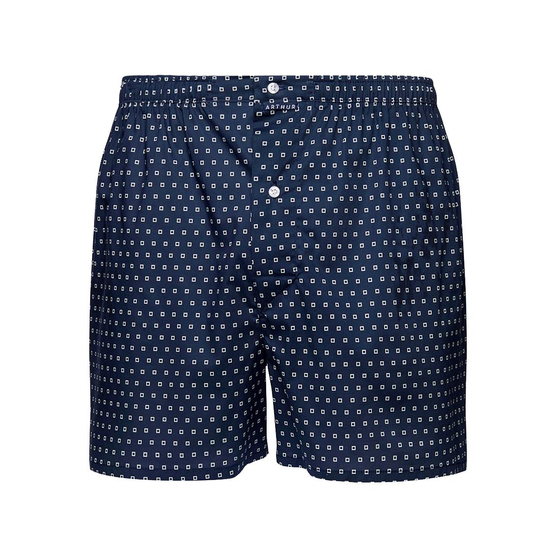 Caleçon  square en coton stretch bleu marine à motif carré blanc