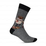 Chaussettes Arthur Teddy Alpin en coton mélangé gris chiné à imprimé ourson alpin