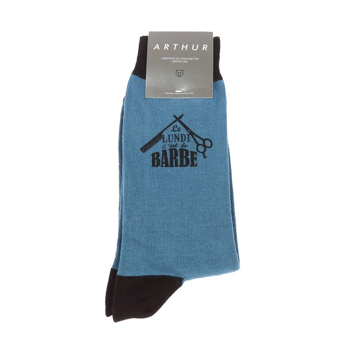 Chaussettes  barbe en coton mélangé bleu pétrole floquées \