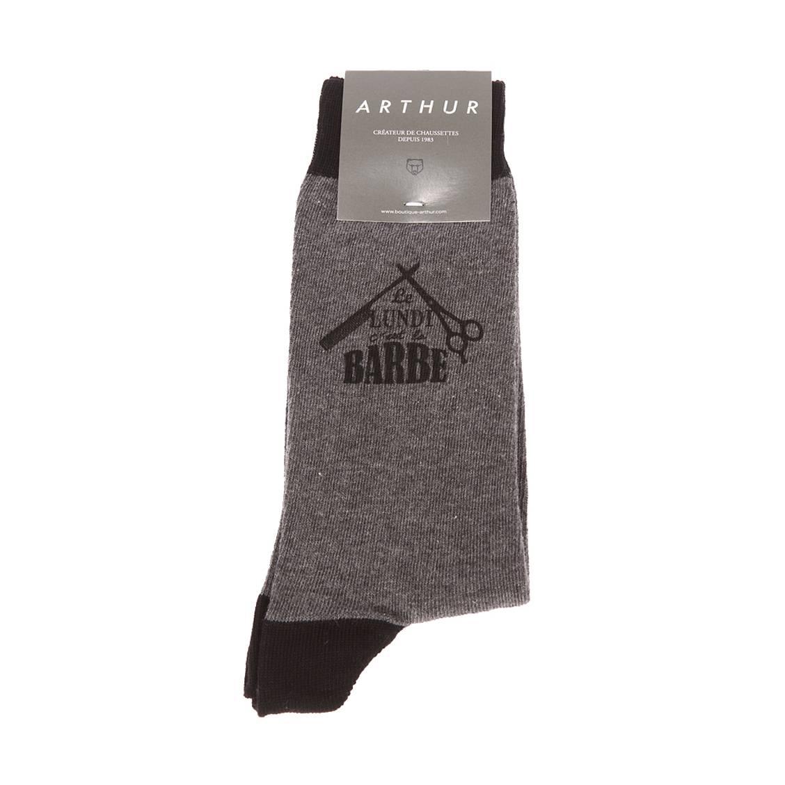 Chaussettes  barbe en coton mélangé gris chiné floquées \