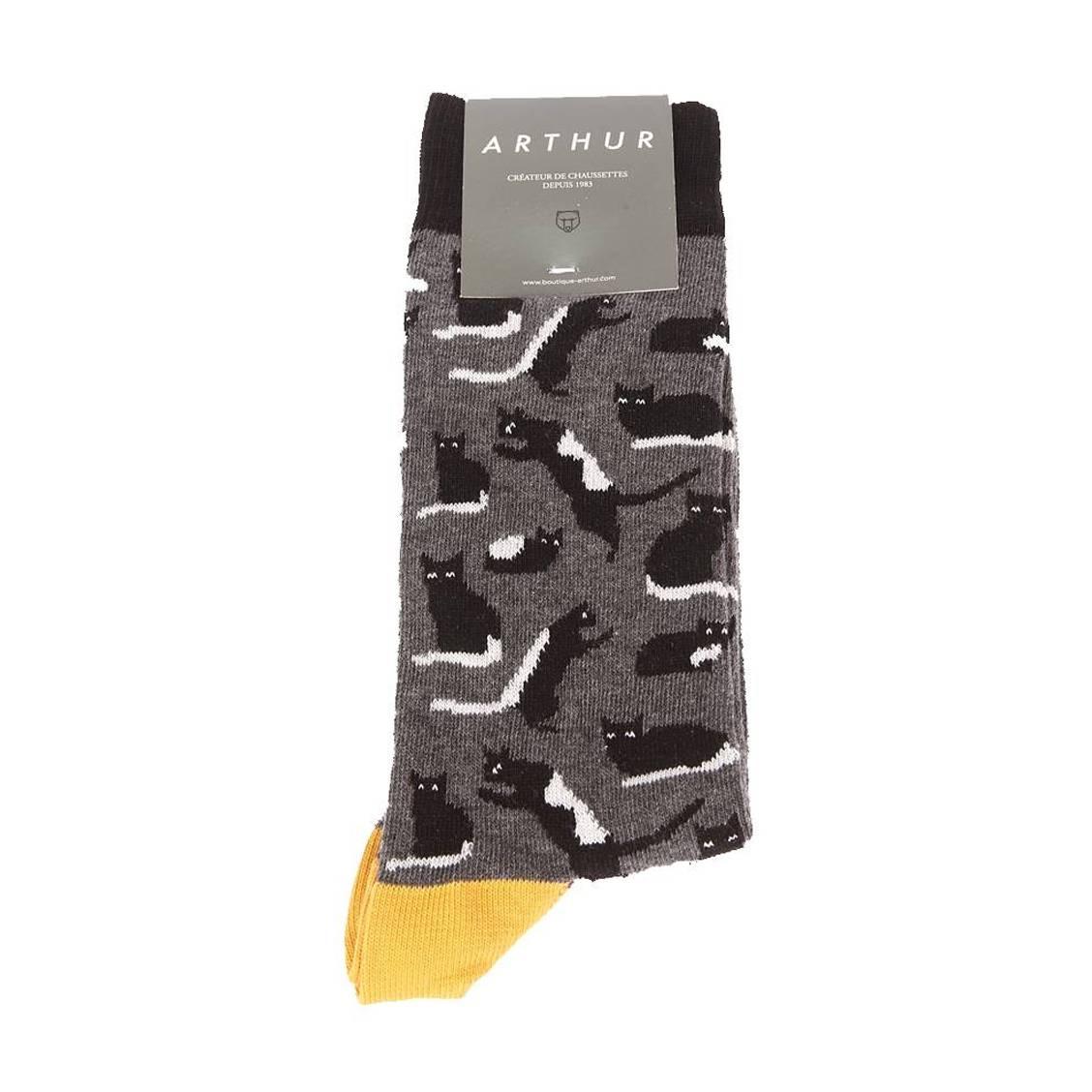 Chaussettes  cats en coton mélangé gris à imprimé chat