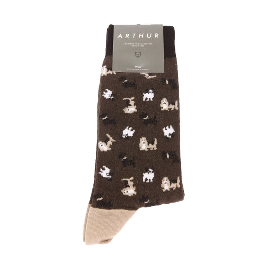 Chaussettes  dogs en coton mélangé marron à imprimé chien