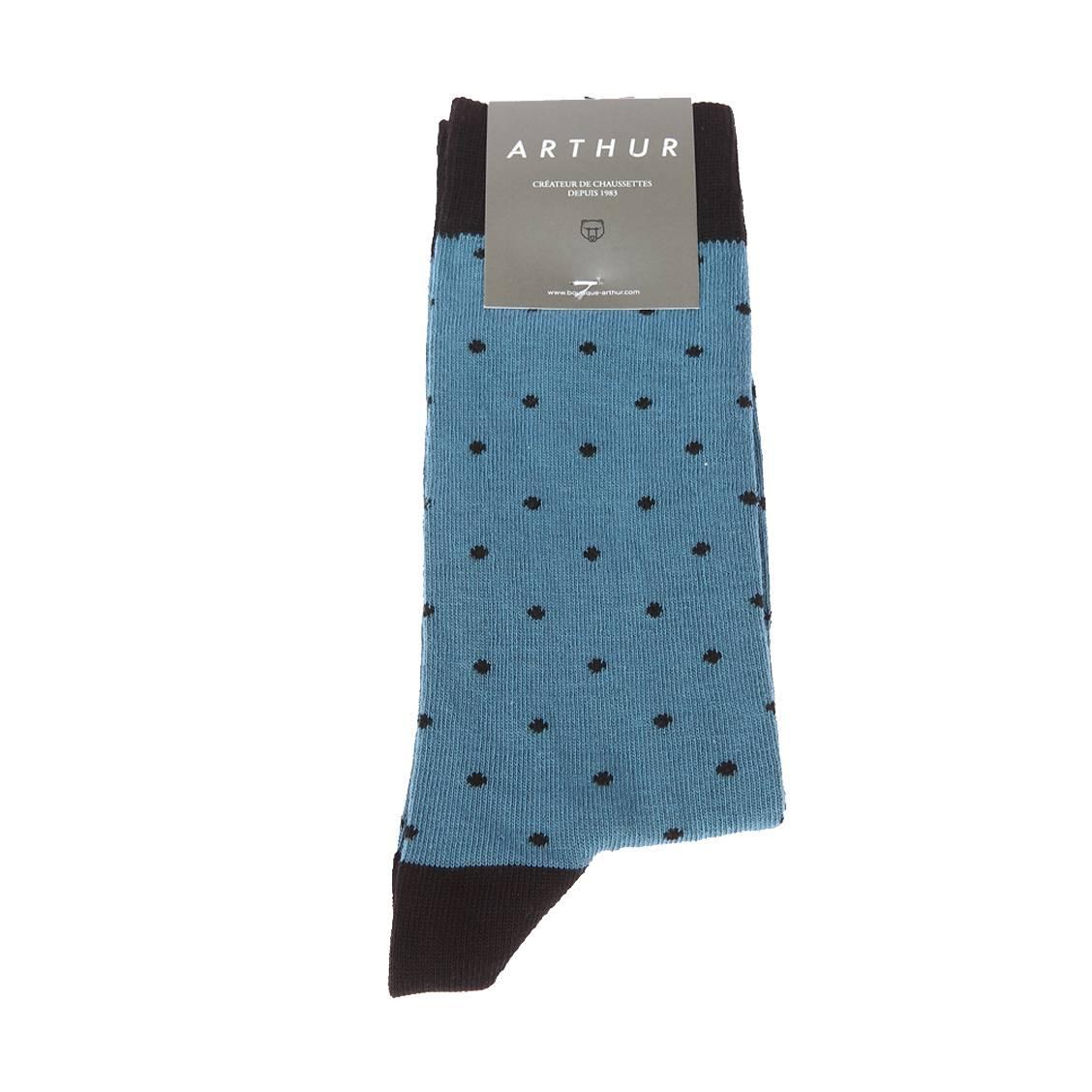 Chaussettes  pois en coton mélangé bleu cyan à pois