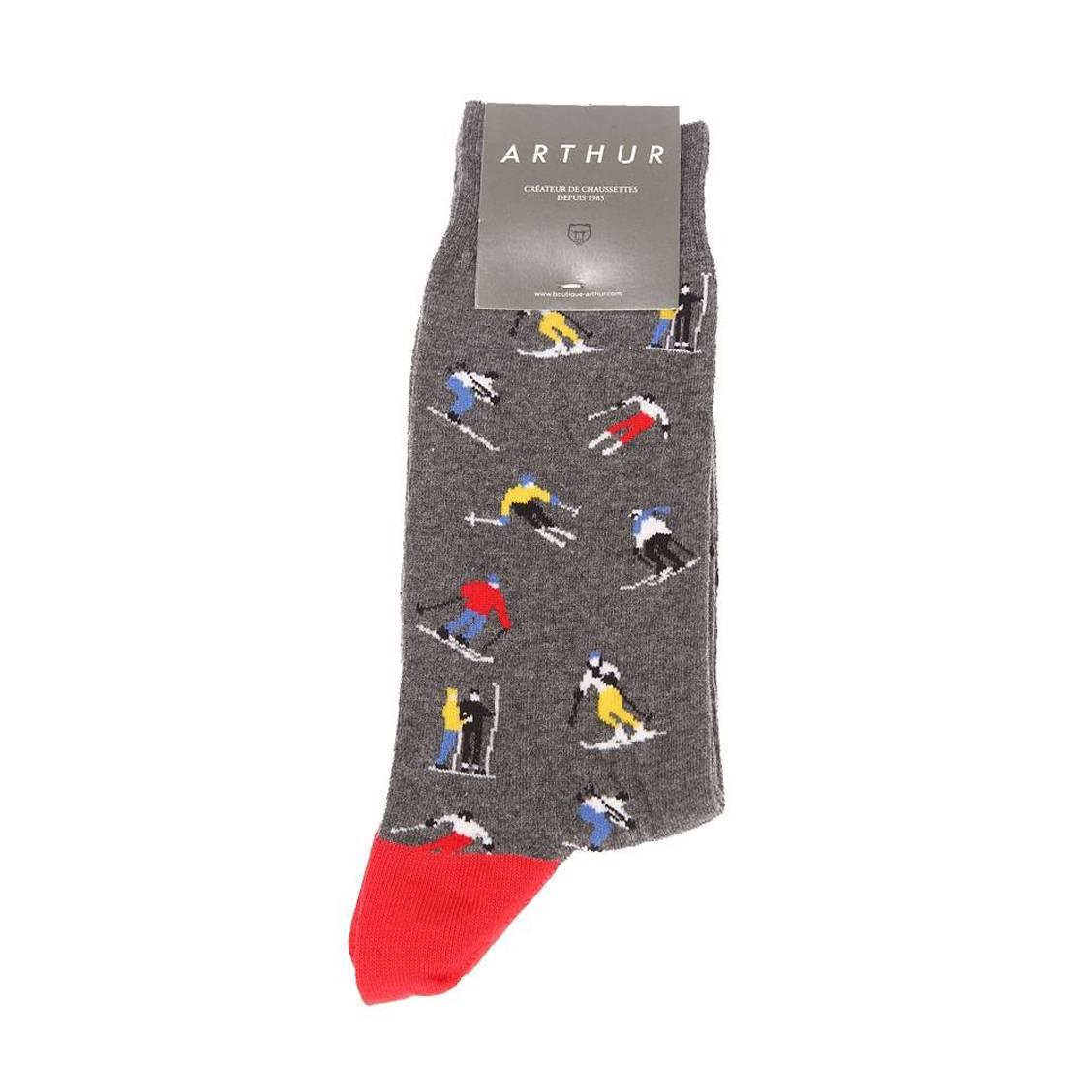 Chaussettes  ski en coton mélangé gris chiné à imprimé skieur
