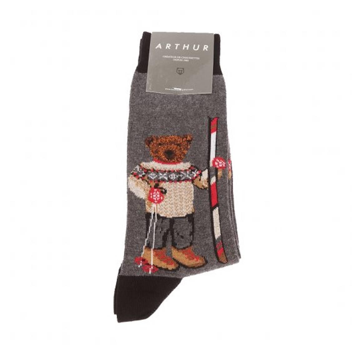 Chaussettes  teddy alpin en coton mélangé gris chiné à imprimé ourson alpin