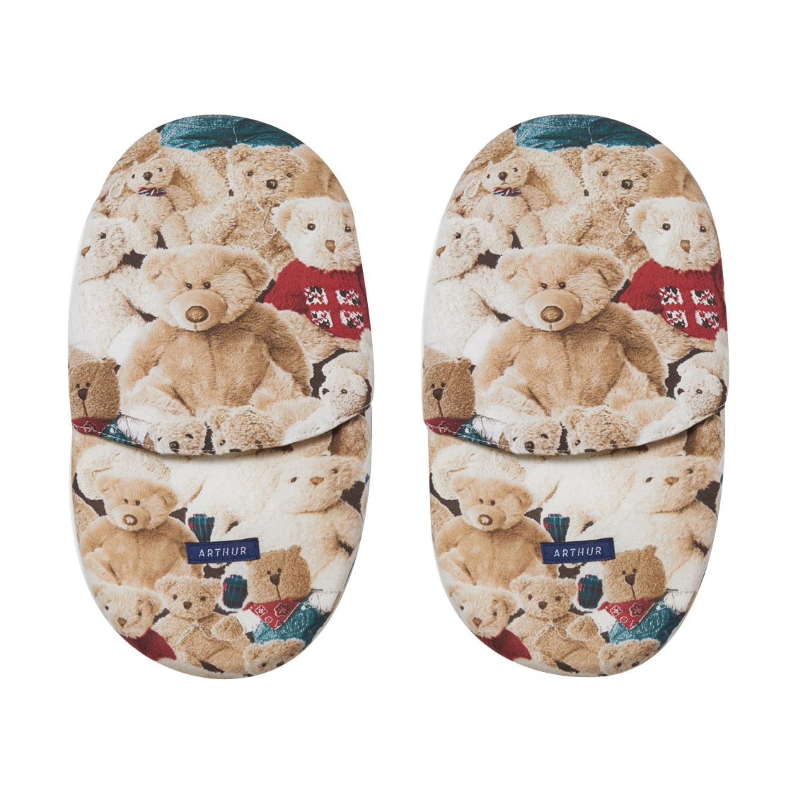 Chaussons  teddy couleur noisette à imprimé ourson