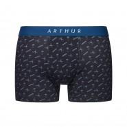 Boxer Arthur Barbe en coton stretch bleu marine à motifs peignes, ciseaux et blaireaux