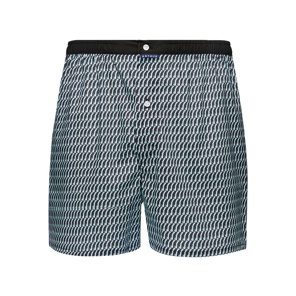 Caleçon  manchot en coton stretch bleu turquoise à imprimé manchot