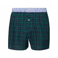 Caleçon Arthur Club en coton à carreaux bleu marine, verts et noirs