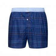 Caleçon Arthur Club en coton à carreaux bleu marine et bleu indigo