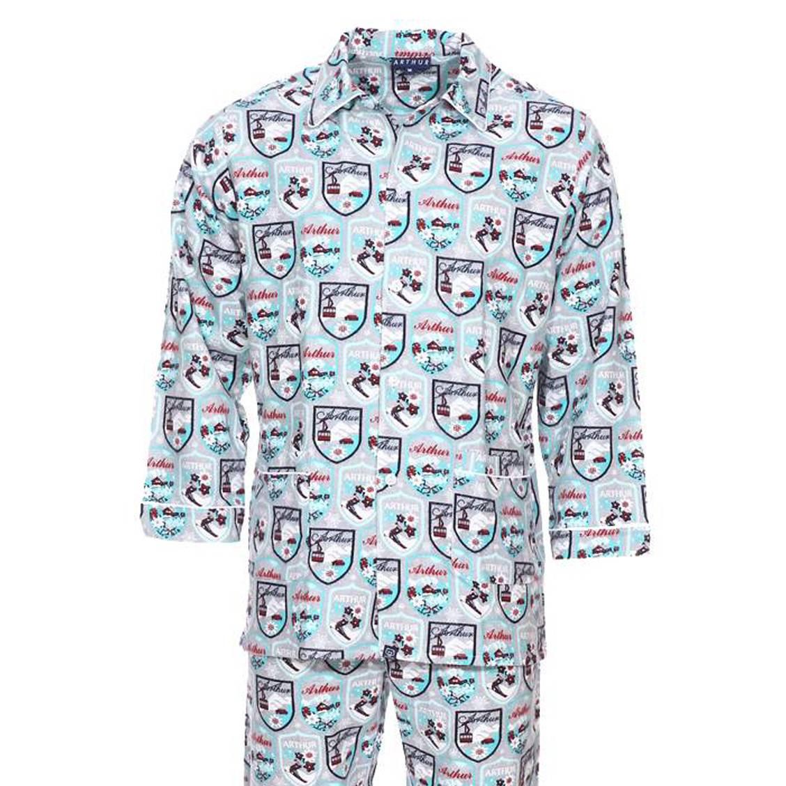 Pyjama long Arthur Alpes en flanelle de coton : veste boutonnée et pantalon gris chiné à imprimé alp