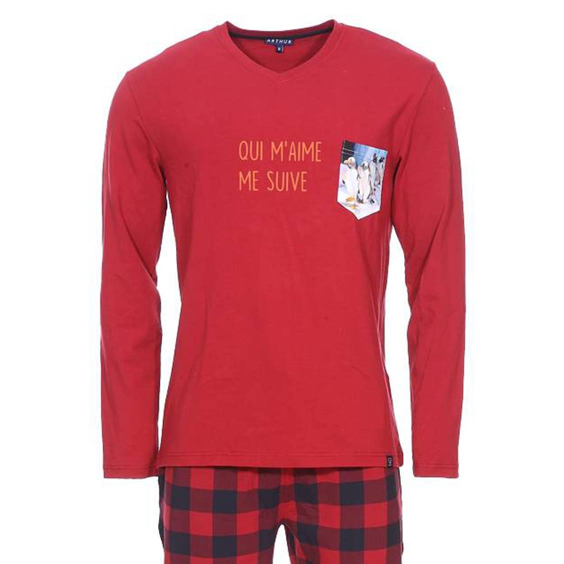 Pyjama long Arthur Manchot en coton stretch: tee-shirt manches longues col V bordeaux floqué et pant