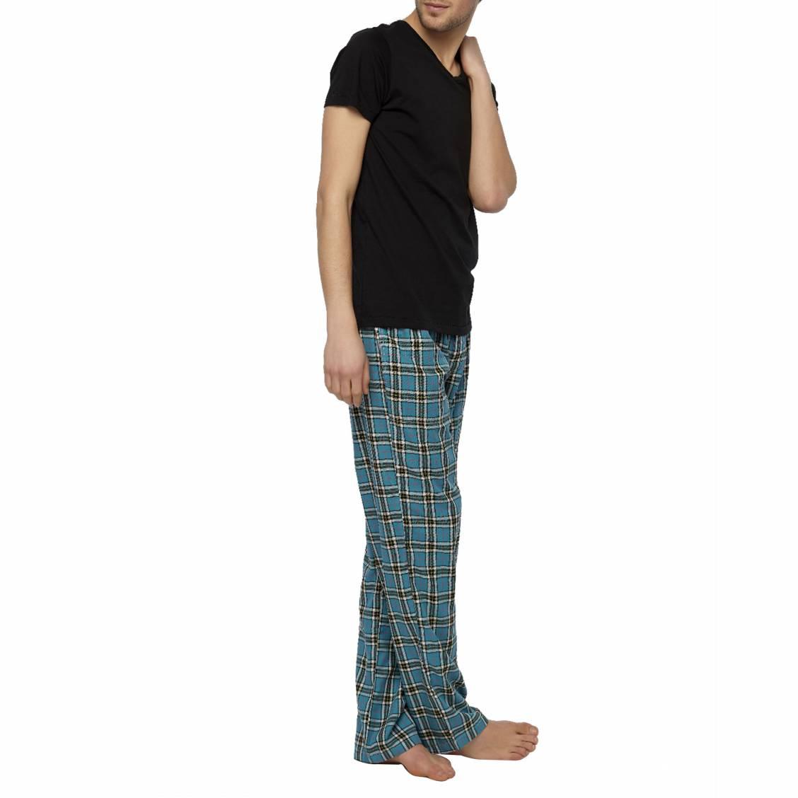 Pantalon de pyjama Arthur Angus en coton à carreaux bleu turquoise, verts, rouges et blancs