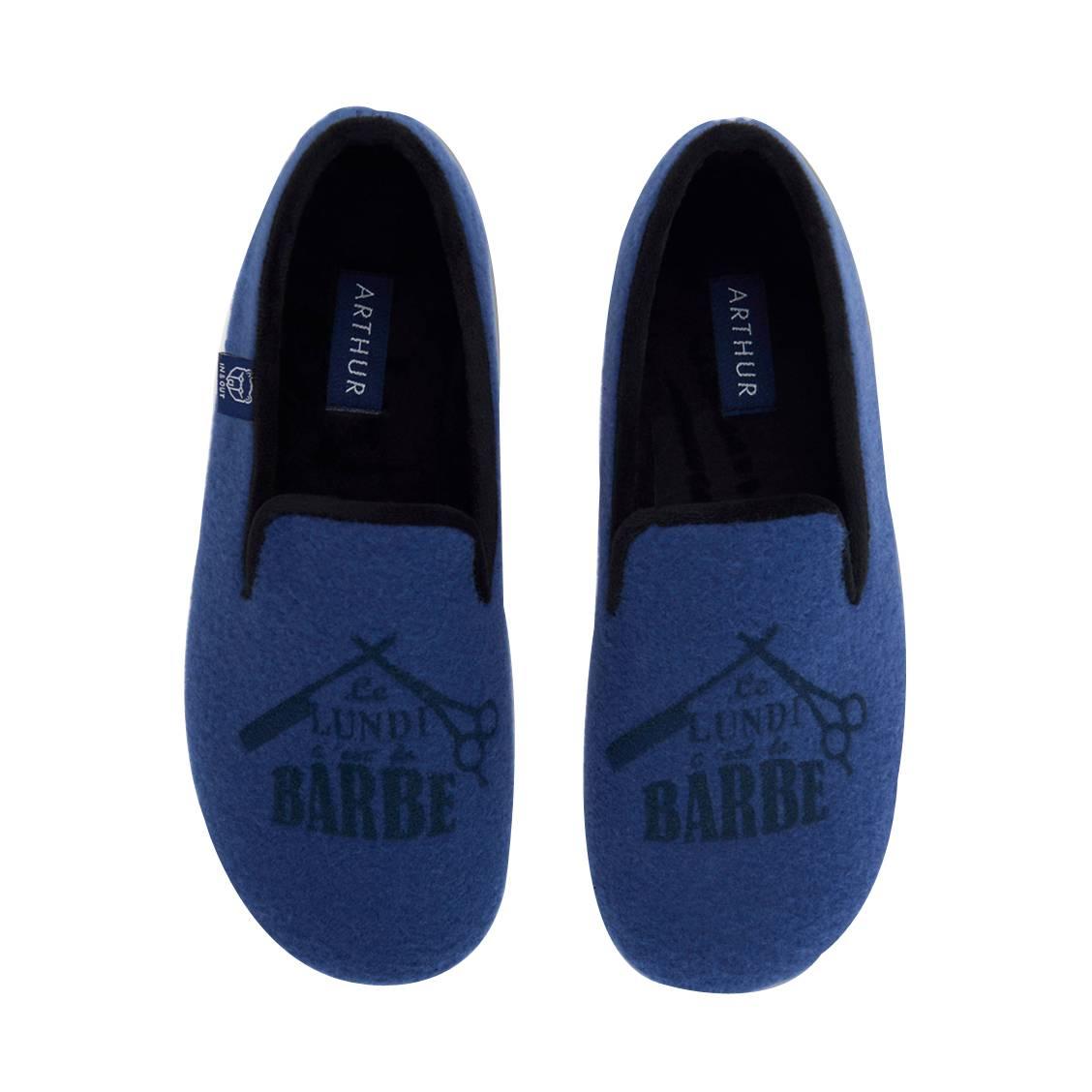 Chaussons Arthur Barbe bleu pétrole à motifs floqués Le lundi c'est la barbe