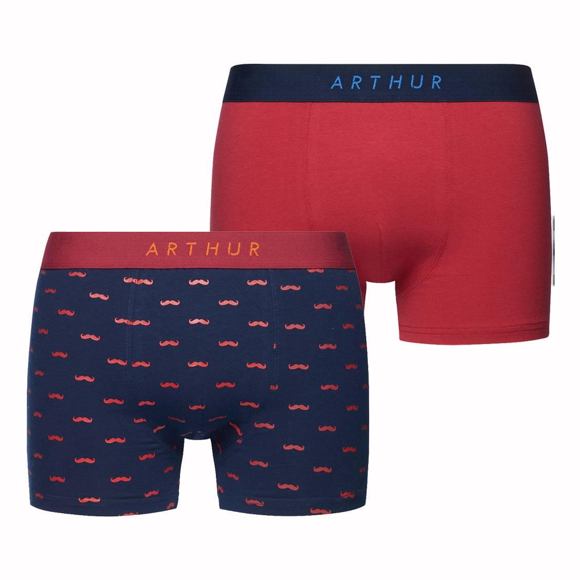 Lot de 2 boxers Arthur Dandy en coton stretch bleu marine à imprimé moustache et rouge
