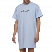 Maxi tee-shirt col rond Arthur Expresso en coton bleu ciel floqué