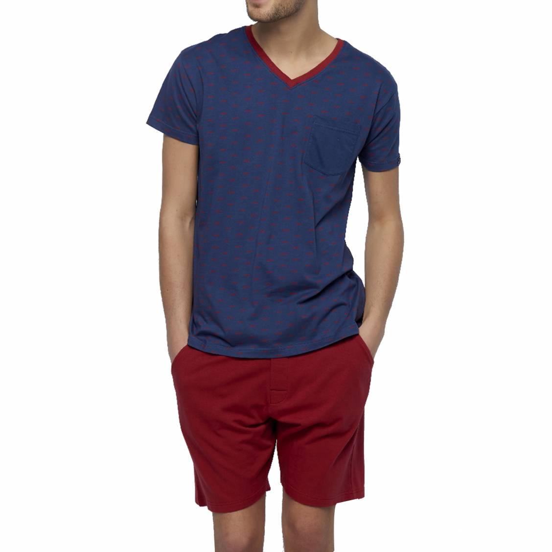 Shirt Bleu Marine Pyjama Tee Court En Arthur Dandy Coton À Col V ppwTnzxY