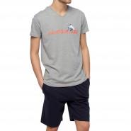 Pyjama court Arthur Pantouflard : tee-shirt col V gris chiné floqué et short bleu marine
