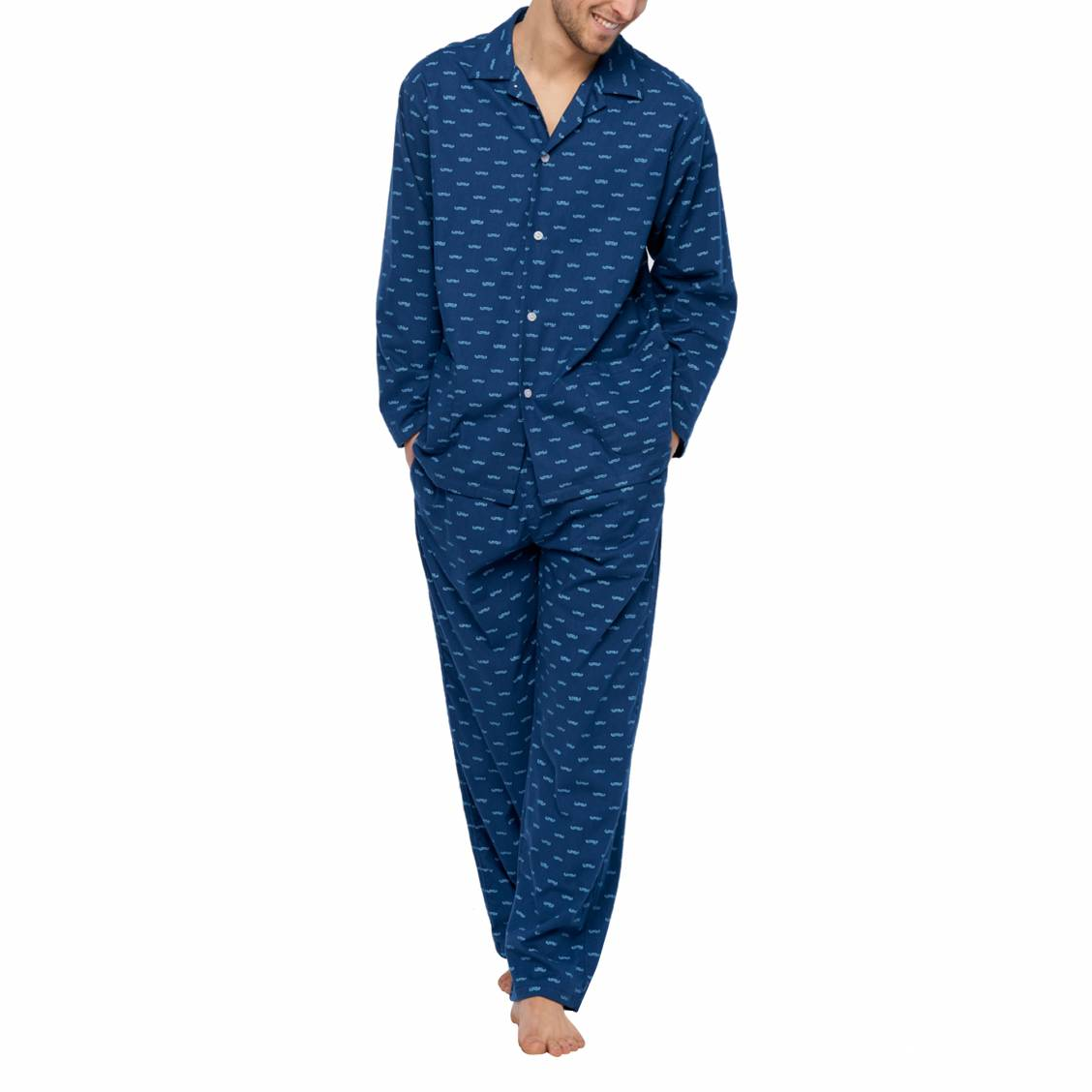 Pyjama long Arthur Dandy en coton : veste boutonnée et pantalon bleu marine à imprimé moustache