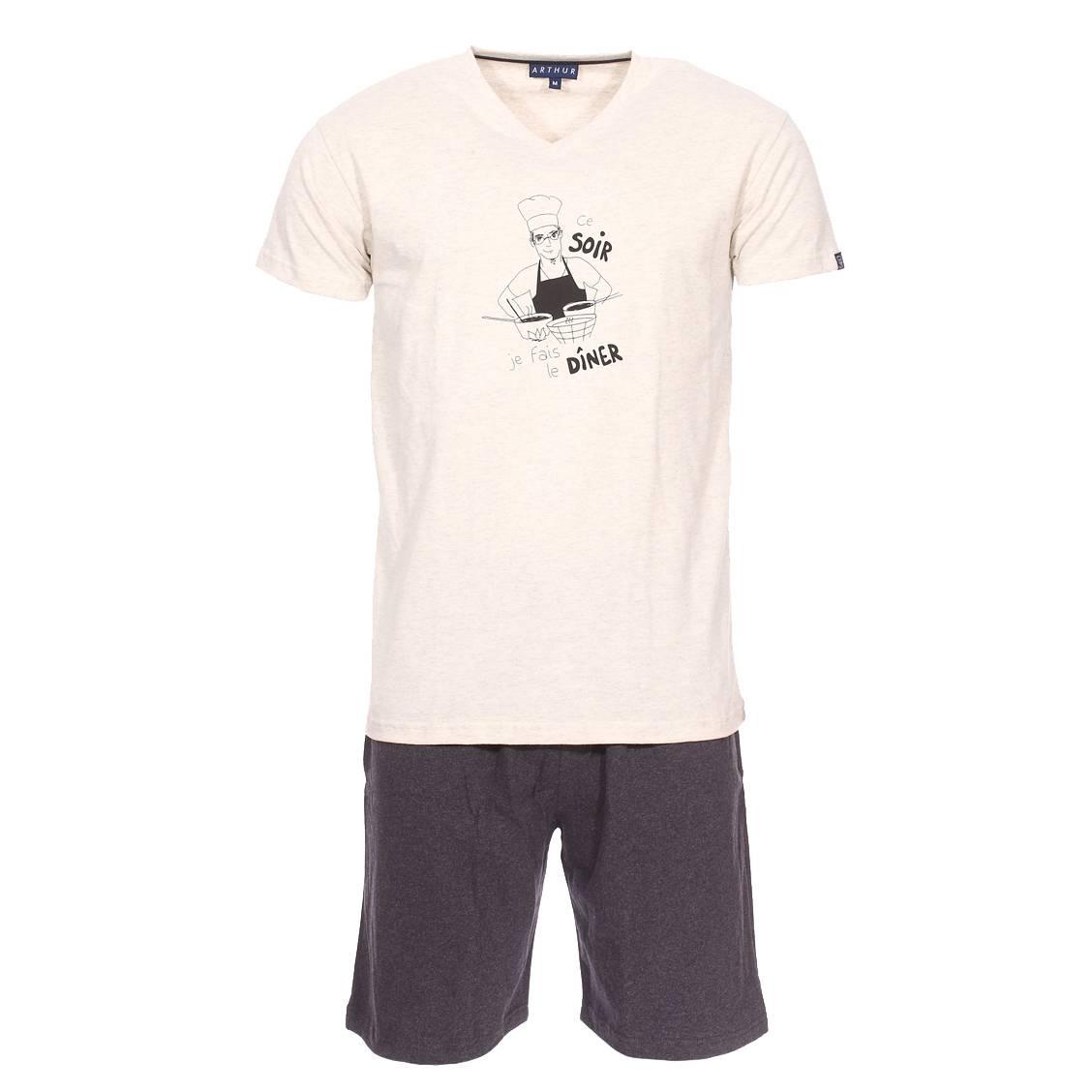 Pyjama court Arthur Diner en coton : tee-shirt col V écru chiné floqué Ce soir je fais le dîner et s