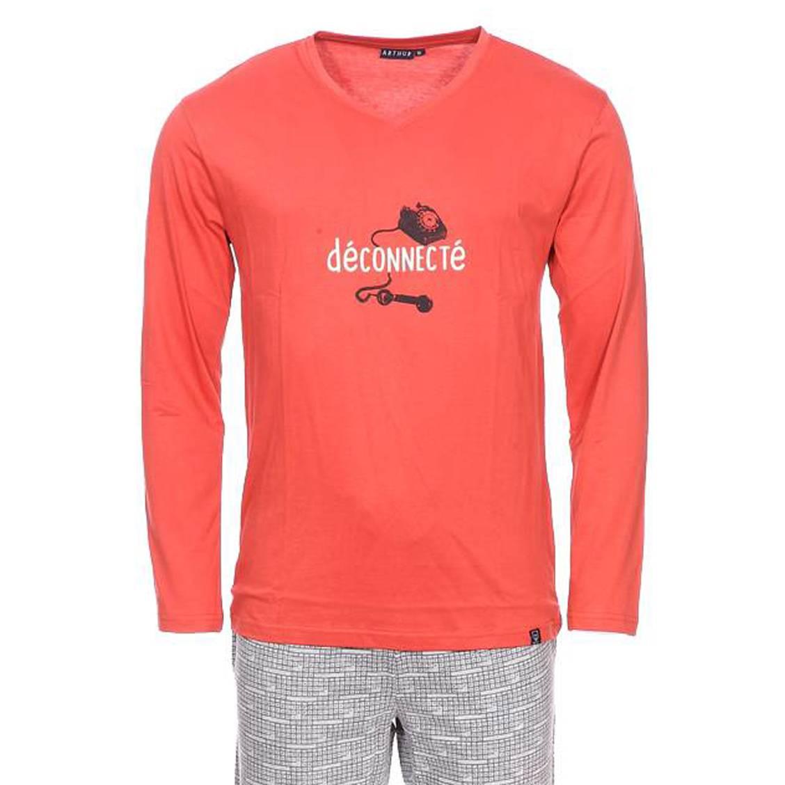 Pyjama long Arthur Clavier en coton : tee-shirt manches longues col V orange floqué déconnecté et pa