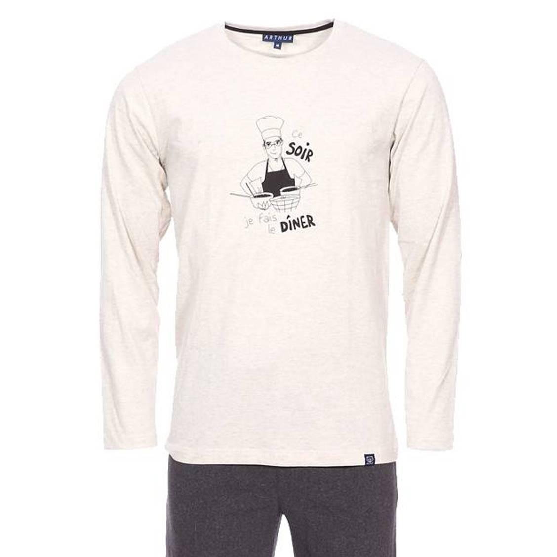 Pyjama long Arthur Diner en coton : tee-shirt manches longues col rond écru chiné floqué Ce soir je