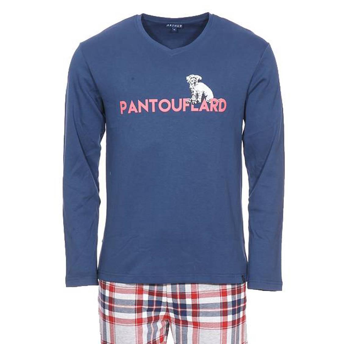 Pyjama long Arthur Pantoufle : tee-shirt manches longues col V bleu pétrole floqué Pantouflard et pa