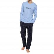 Pyjama long Arthur Expresso en coton : tee-shirt manches longues col V bleu ciel floqué et pantalon noir à motifs