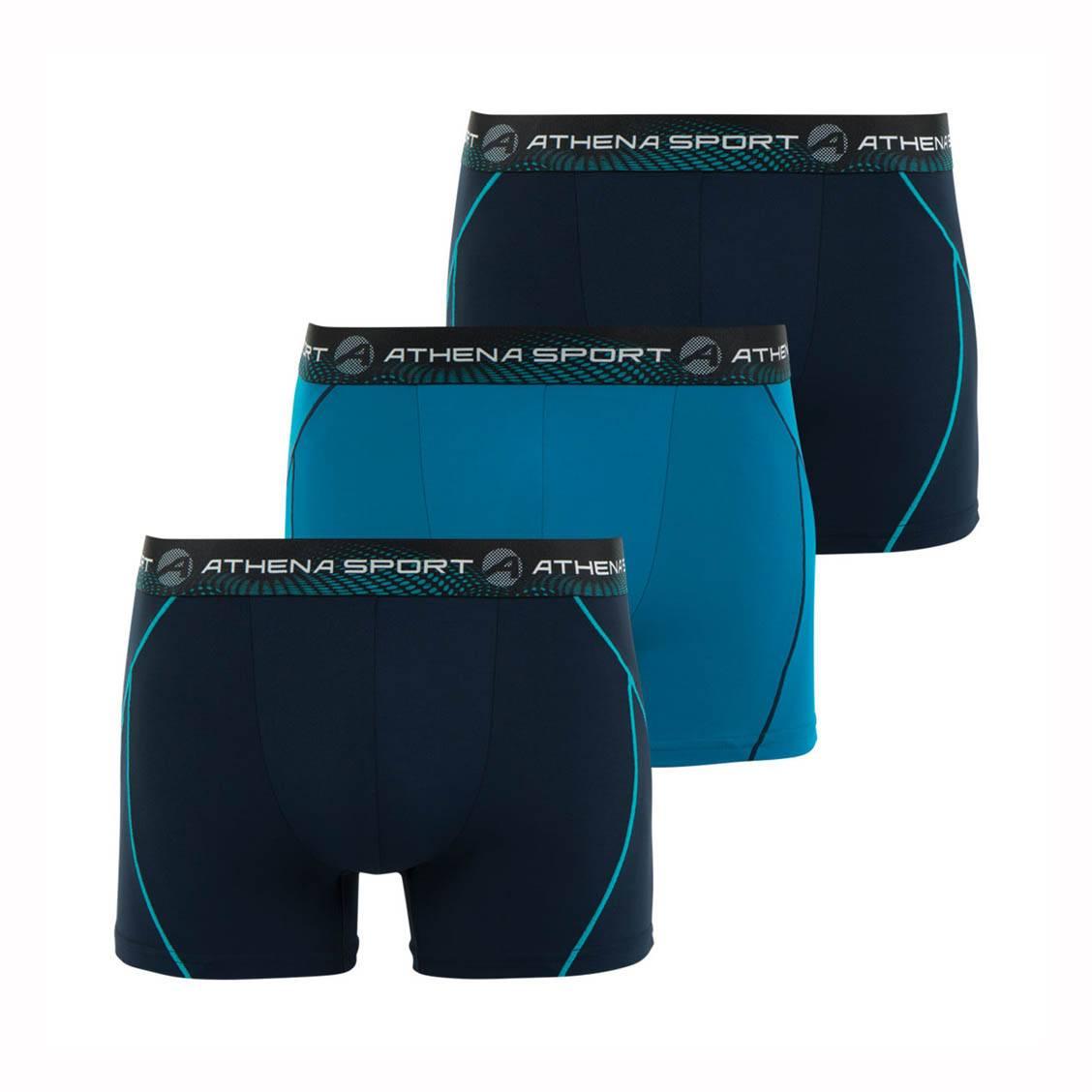 Lot de 3 boxers Athena Sport en microfibre respirante bleu marine et bleu turquoise. Lot de 3 boxers Athena Sport en microfibre respirante bleu marine