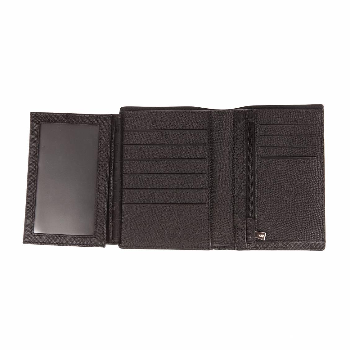 ... Portefeuille européen 4 volets Azzaro Lawless en cuir de vachette  imprimé saffiano noir ... 5467d1d1177