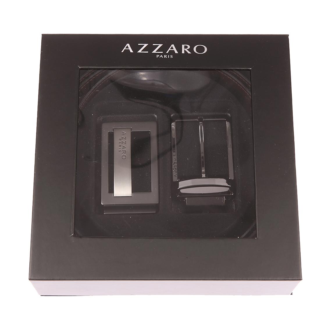Coffret ceinture ajustable Azzaro en refente de cuir de vachette noir réversible marron : boucle à poinçon gravée et boucle à ardillon gravée