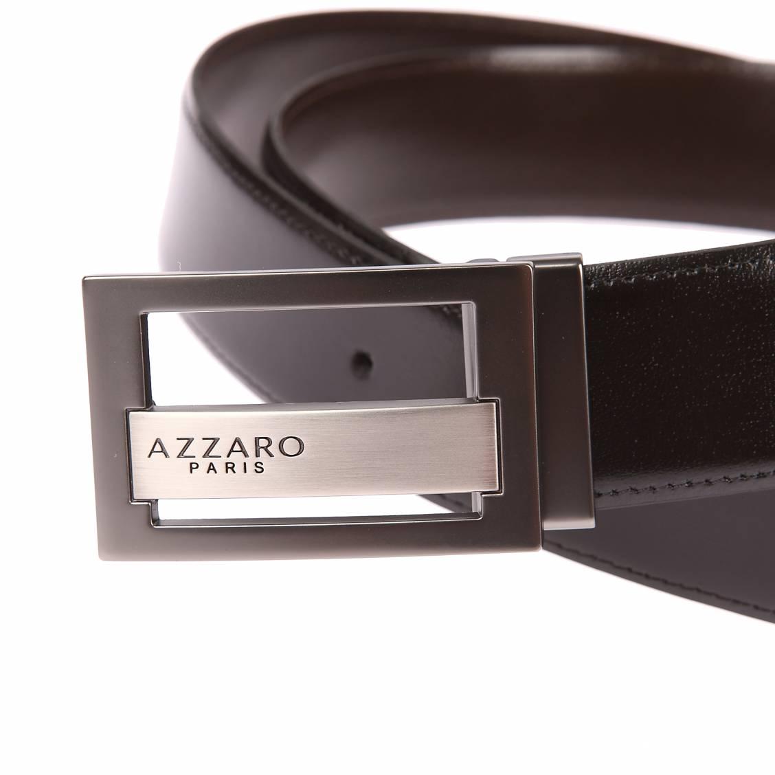 66519b28bc8e ... Coffret ceinture ajustable Azzaro en refente de cuir de vachette noir  réversible marron   boucle à ...