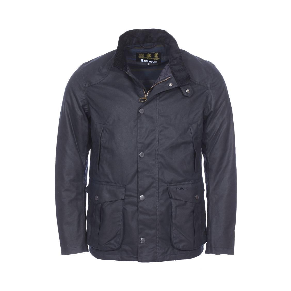 design de qualité très convoité gamme de invaincu x Parka Barbour Leeward en toile de coton huilé bleu marine | Rue Des Hommes
